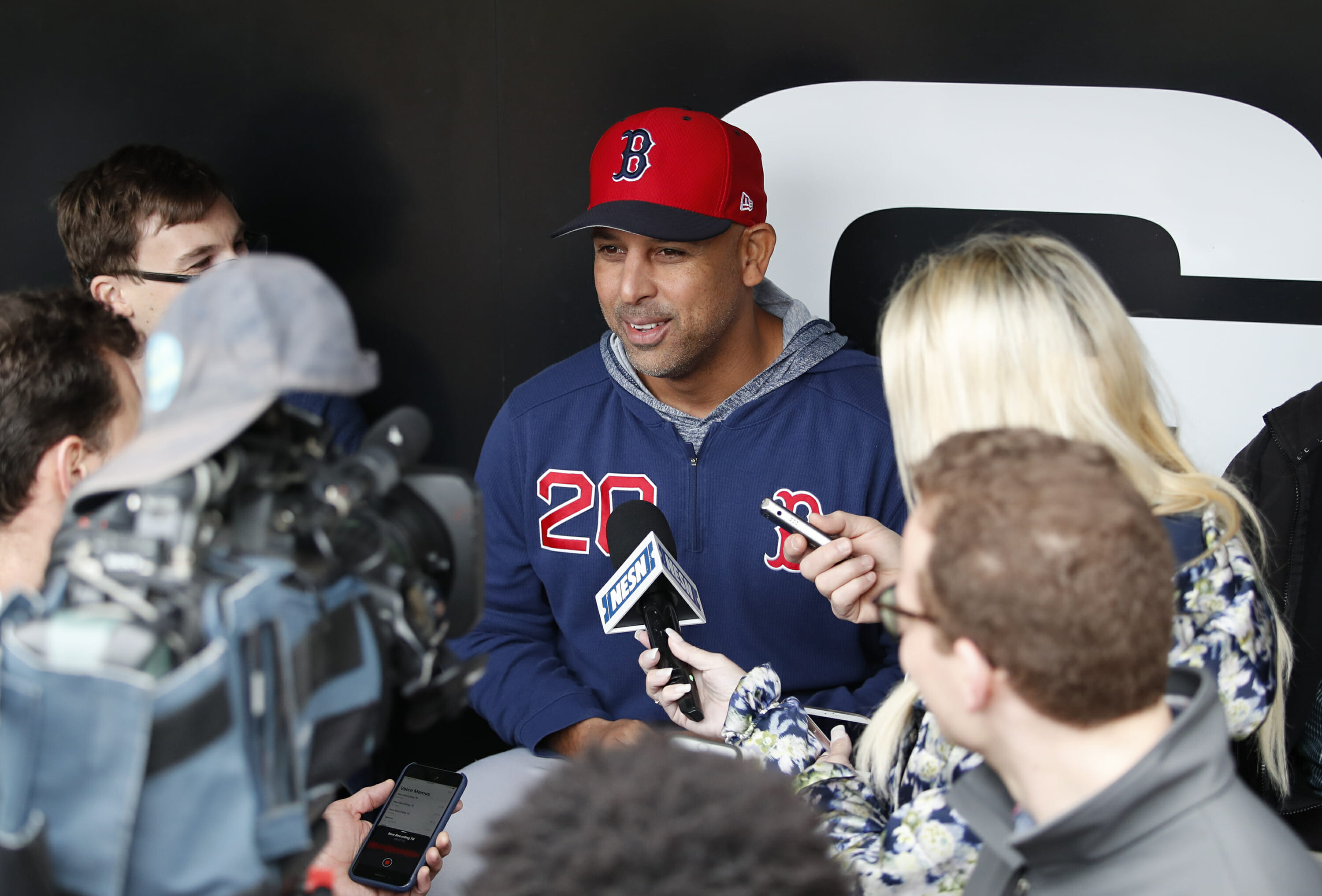 Boston Red Sox manager Alex Cora talks with the media before a game against the Chicago White Sox on May 3, 2019.