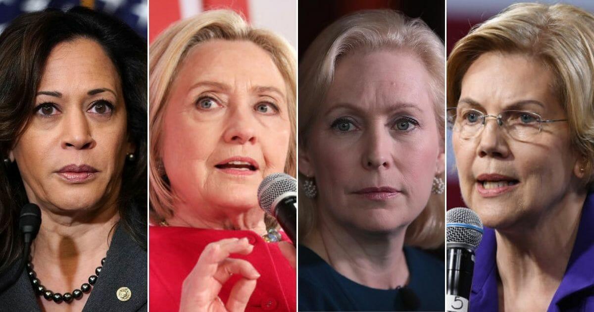 California Sen. Kamala Harris; Former Democratic presidential candidate Hillay Clinton; New York Sen. Kirsten Gillibrand; Massachusetts Sen. Elizabeth Warren.