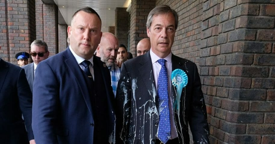 Brexit Party leader Nigel Farage in Newcastle Upon Tyne, England after having milkshake thrown over him.
