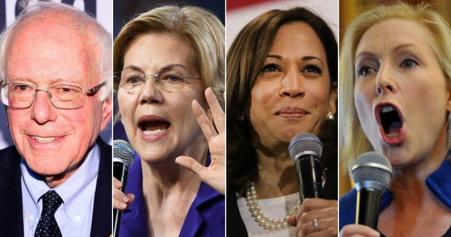 Vermont Sen Bernie Sanders; Massachusetts Sen. Elizabeth Warren; California Sen. Kamala Harris; New York Sen. Kirsten Gillibrand