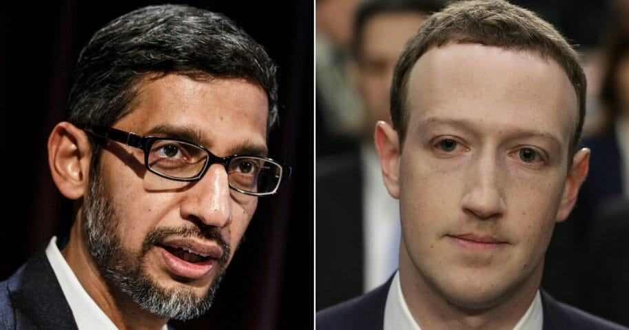 Google CEO Sundar Pichai; Facebook CEO Mark Zuckerberg