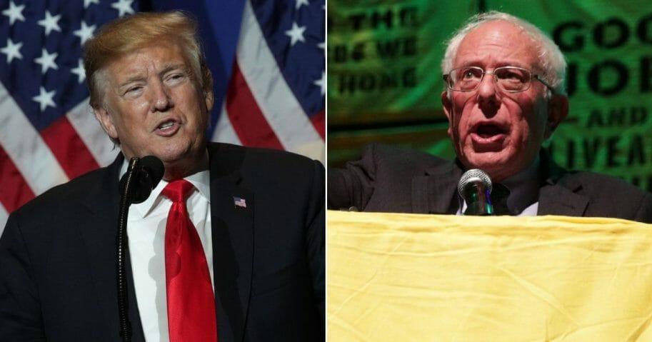 President Donald Trump; Vermont Sen. Bernie Sanders