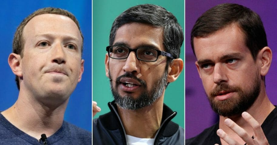Facebook CEO Mark Zuckerberg; Google CEO Sundar Pichai; Twitter CEO Jack Dorsey