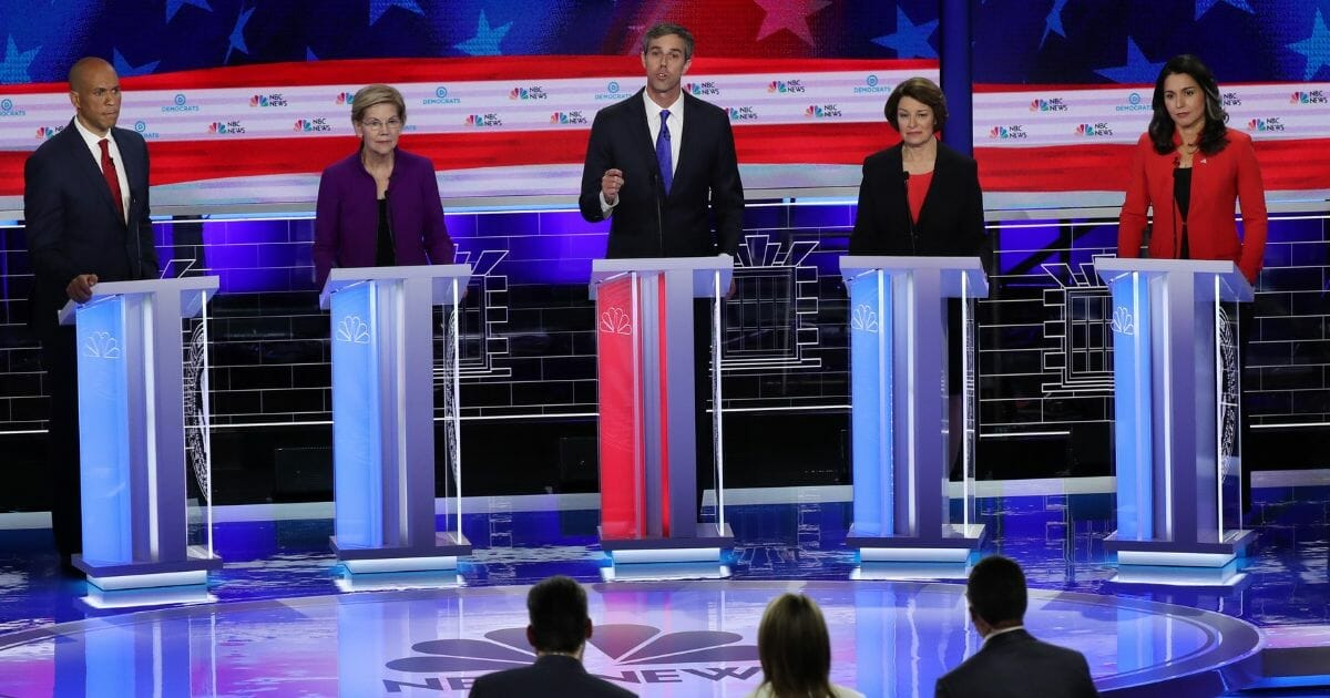 A handful of the 10 candidates who participated in Wednesday night's Democratic presidential debate in Miami, Fla.