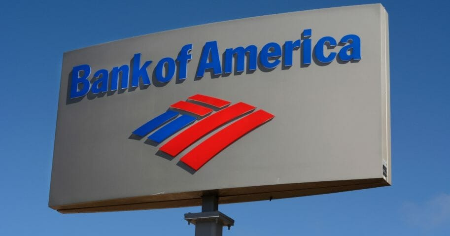 A business sign outside a Bank of America in Santa Fe, N.M.