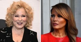 Entertainer Bette Midler, left, continued her ongoing feud with President Donald Trump on June 18, 2019, writing a crude poem about the president's wife, first lady Melania Trump, right.