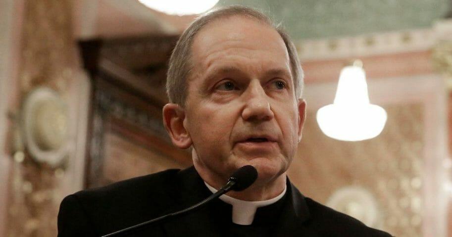 Bishop Thomas Paprocki testifies during a Senate committee hearing on Jan. 3, 2013, in Springfield, Ill.