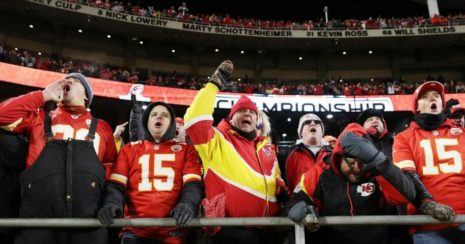 Fans at Arrowhead Stadium react after a call goes against the Kansas City Chiefs in the fourth quarter of the AFC championship game.