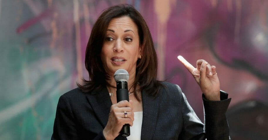 Democratic presidential candidate and California Sen. Kamala Harris speaks during a campaign stop at the Convivium Urban Farmstead on June 10, 2019, in Dubuque, Iowa.