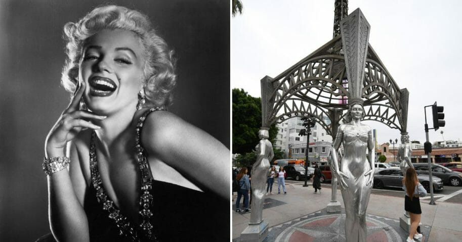 """Half-length portrait of Marilyn Monroe, left, and the """"Ladies of Hollywood Gazebo"""" in Hollywood, California, on June 18, 2019, right."""