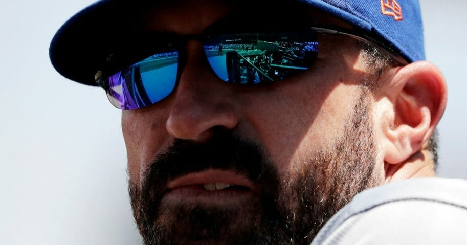 New York Mets manager Mickey Callaway looks to the field.