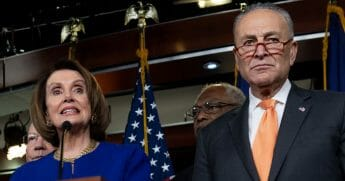 House Speaker Nancy Pelosi, left, and Senate Minority Leader Chuck Schumer, right, hold a news conference on Capitol Hill in Washington, D.C., on May 22, 2019, following a meeting with President Donald Trump at the White House.