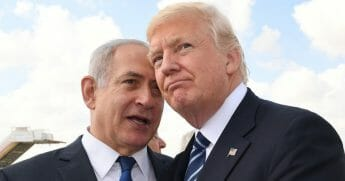 Israeli Prime Minister Benjamin Netanyahu speaks with U.S. President Donald Trump on May 23, 2017, in Jerusalem, Israel.