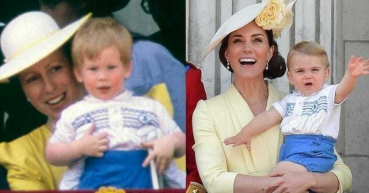 Prince Harry, left, and Prince Louis, right, wearing matching outfits.