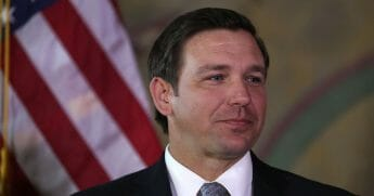 Gov. Ron DeSantis attends an event at the Freedom Tower where he named Barbara Lagoa to the Florida Supreme Court on Jan. 9, 2019, in Miami, Florida.