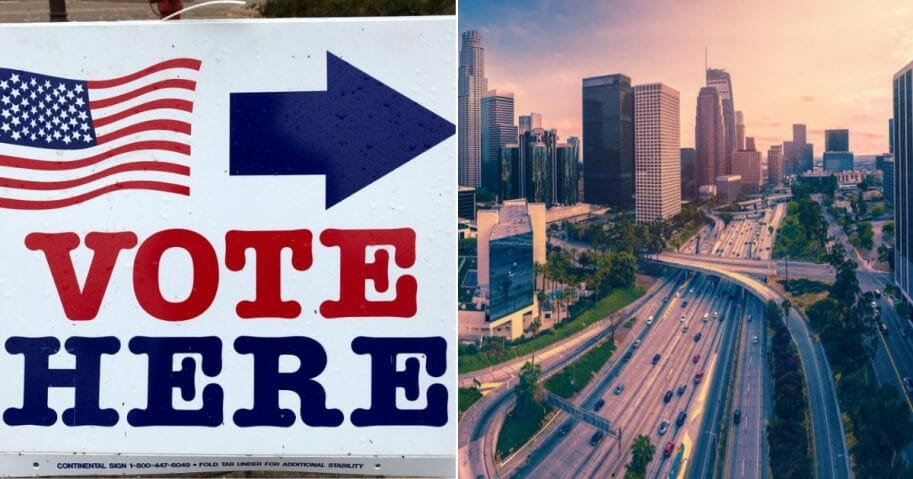 A sign welcomes registered voters; the Los Angeles skyline
