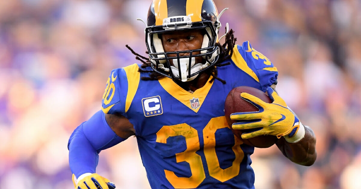 Todd Gurley of the Los Angeles Rams carries the ball.