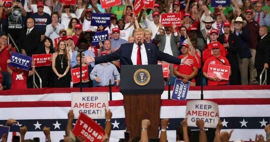 President Donald Trump speaks during his rally at the Amway Center in Orlando, Fla., where he announced his candidacy for a second presidential term on June 18, 2019.