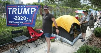 Trump supporters started lining up 42 hours before the president's rally at the Amway Center in Orlando, Florida.