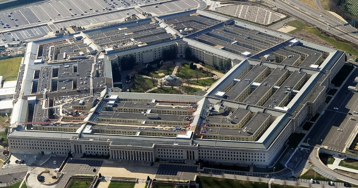 An aerial view of the Pentagon, the U.S. Department of Defense's headquarters, in Washington, D.C.