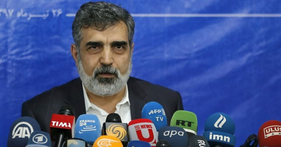Spokesman of the Atomic Energy Organization of Iran, Behrouz Kamalvandi answers the press in the capital Tehran on July 17, 2018.