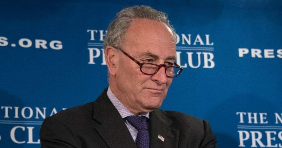 Senate Minority Leader Chuck Schumer at a National Press Club press conference