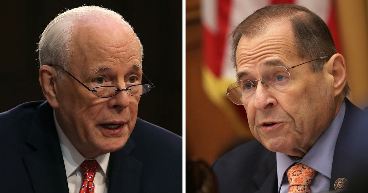 Nixon White House counsel John Dean, left, and House Judiciary Chairman Jerry Nadler, right.