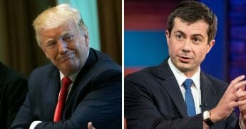 President Donald Trump, left; South Bend, Indiana, Mayor Pete Buttigieg, right.
