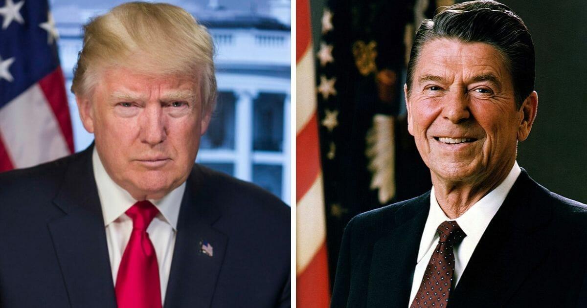 President Donald Trump, left, and former President Ronald Reagan, left.