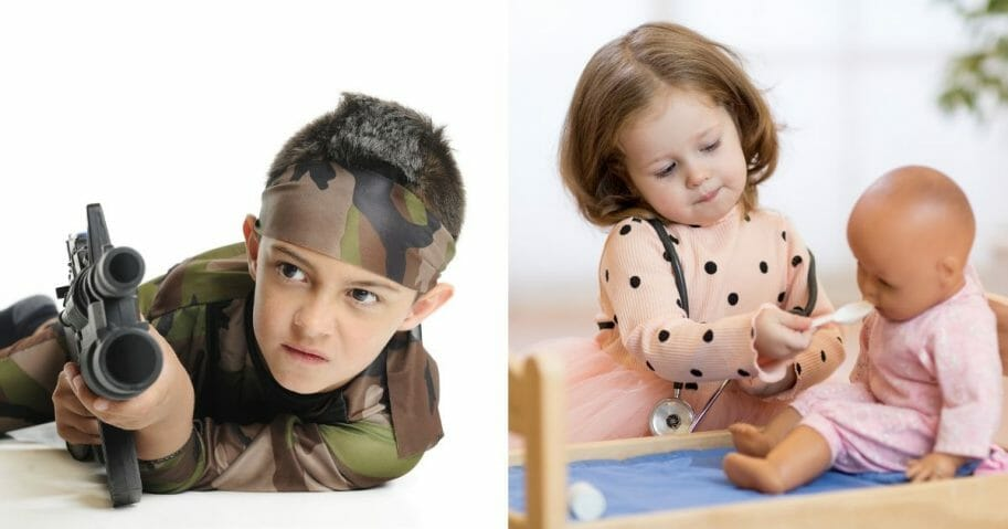 Image of boy with toy gun next to image of girl with doll.