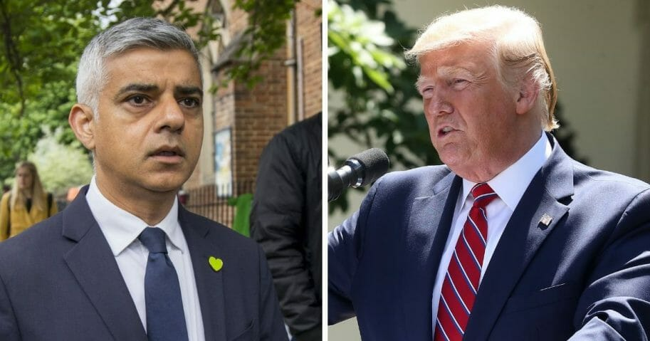 London Mayor Sadiq Khan, left; President Donald Trump, right.