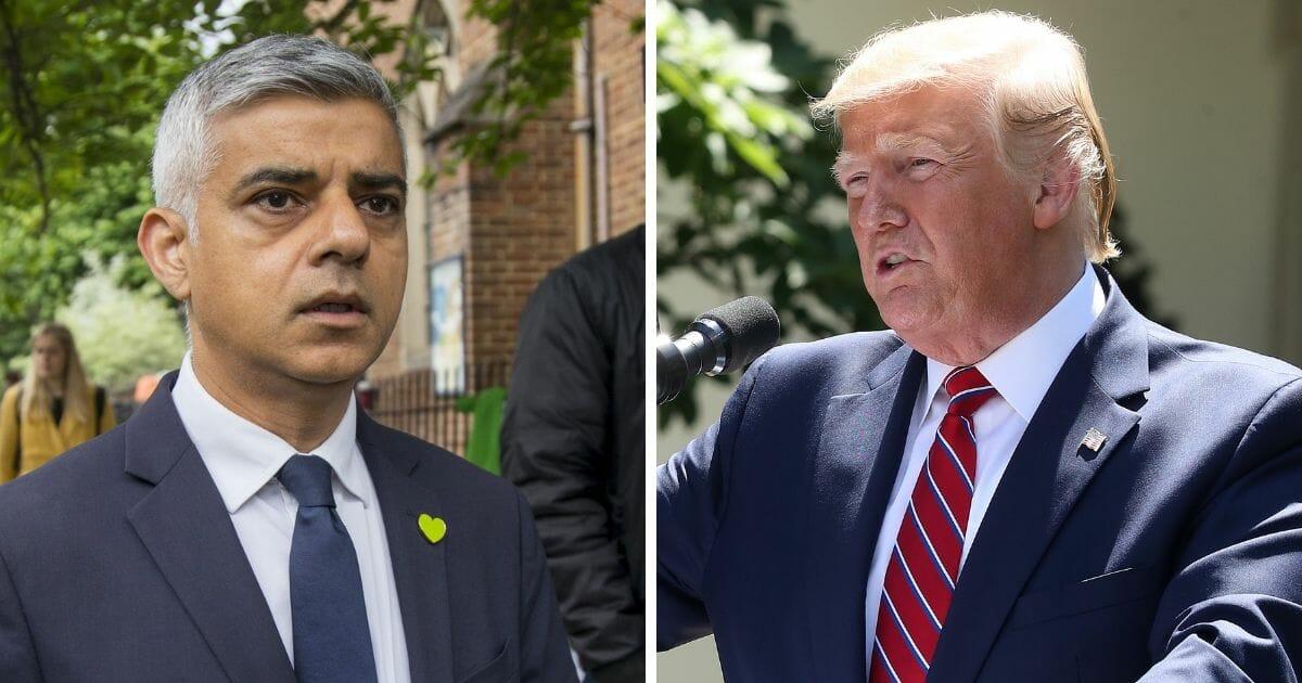 London Mayor Sadiq Khan, left; President Donald Trump, right.