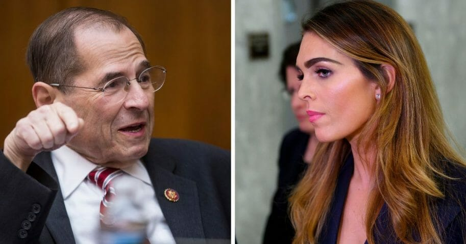 Rep. Jerrold Nadler, left; former White House aide Hope Hicks, right.