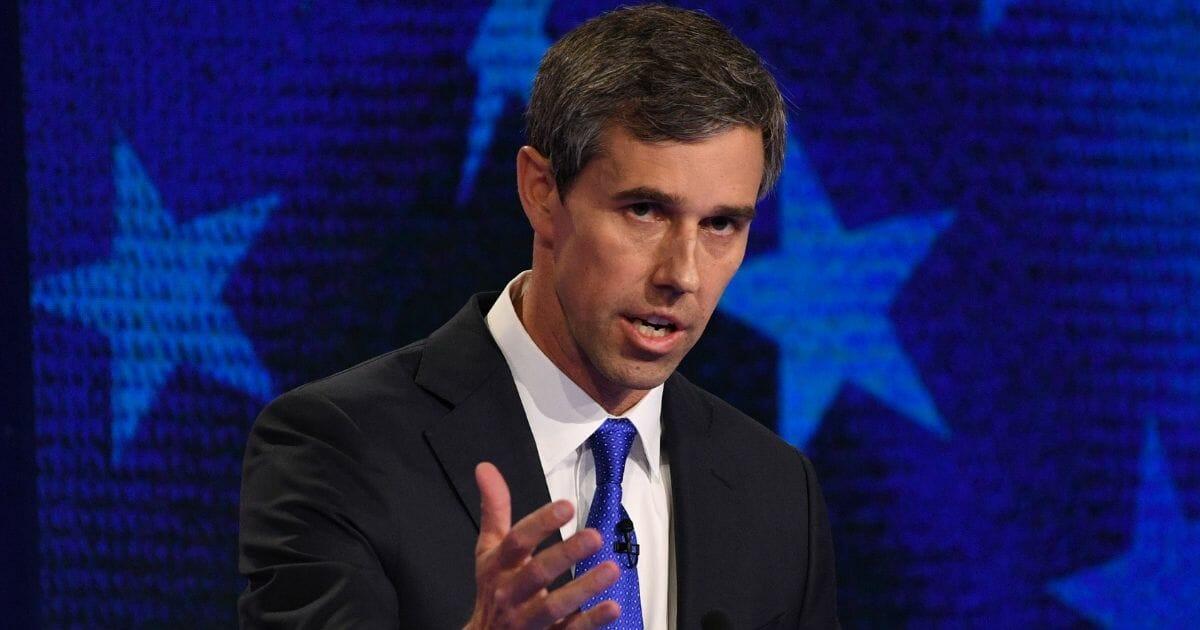 "Former Rep. Robert ""Beto"" O'Rourke speaks during Wednesday's Democratic debate in Miami."