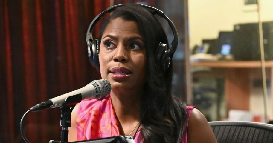 Former White House adviser Omarosa Manigault Newman is pictured during an April radio interview in New York City,