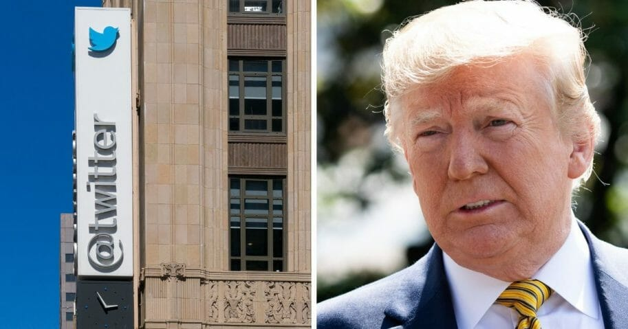 Twitter headquarters in San Francisco, left; President Donald Trump, right.