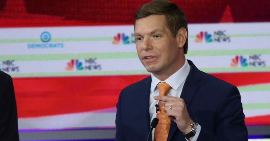Rep. Eric Swalwell at Thursday's Democratic debate in Miami.