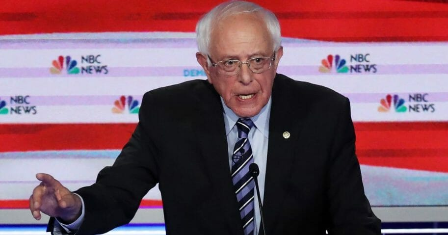 Vermont Sen. Bernie Sanders at Thursday's Democratic debate in Miami.