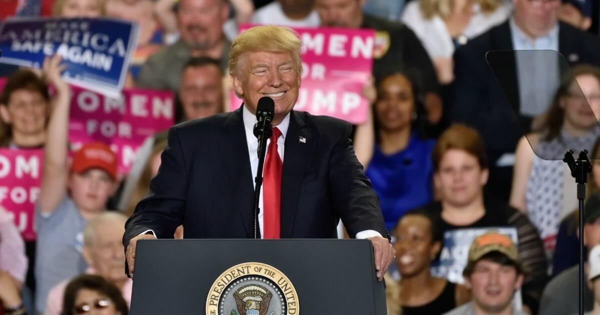 President Donald Trump at a rally in Harrisburg, Pennsylvania