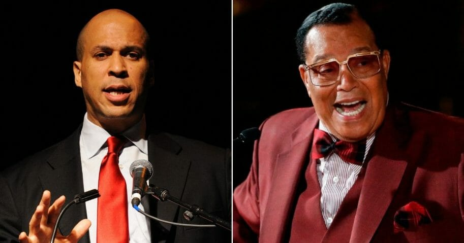 Sen. Cory Booker, left, says he is willing to sit down with Nation of Islam leader Louis Farrakhan, right