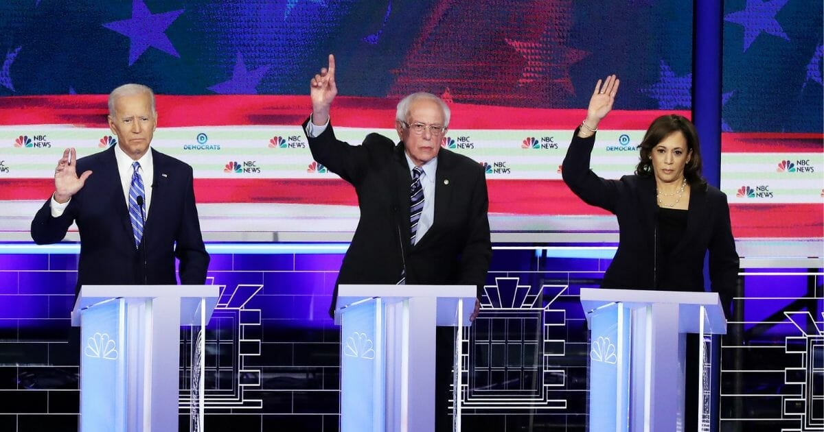 Democratic presidential candidates at second presidential debate.