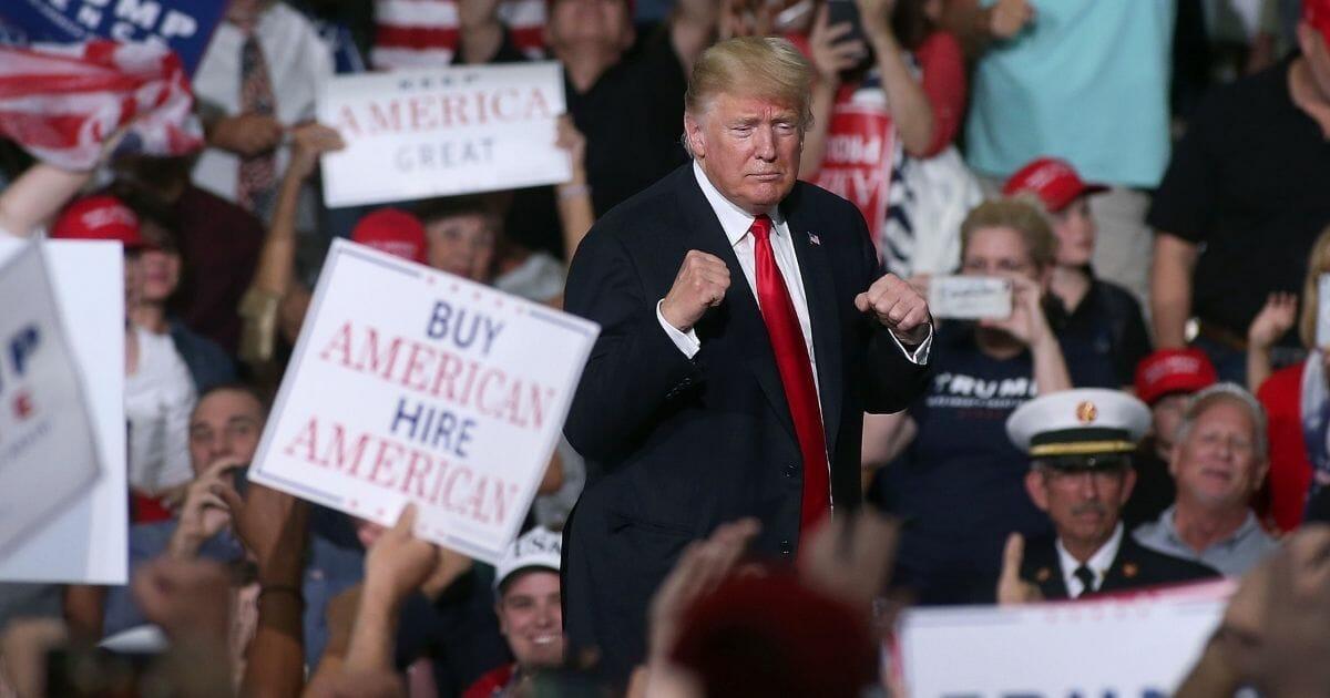 President Donald Trump at a rally in Mesa, Arizona.