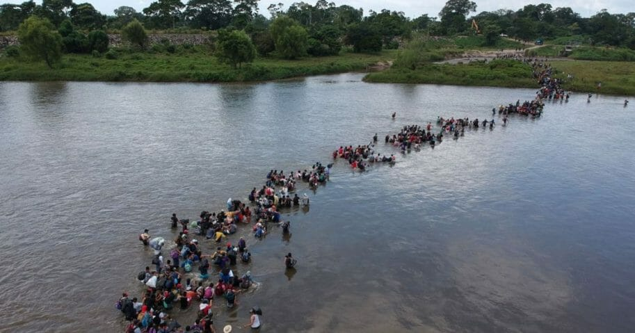 Migrants crossing the Suchiate River to Mexico, from Ciudad Tecun Uman, Guatemala.