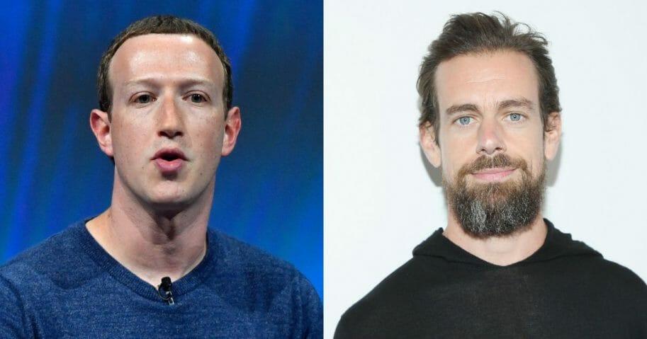 Facebook CEO Mark Zuckerberg; Twitter CEO Jack Dorsey