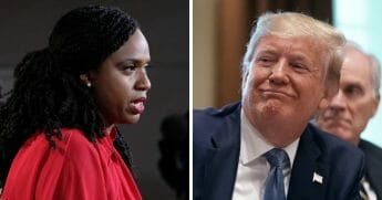 "Massachusetts Democratic Rep. Ayanna Pressley, left, suggested this week that she won't refer to Donald Trump, right, as ""president,"" but will instead call him the ""occupant of this White House."""
