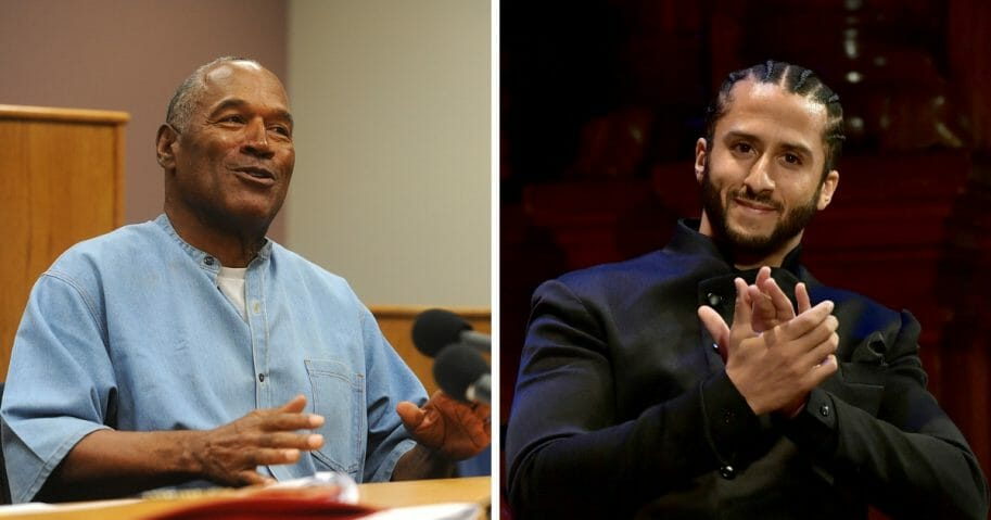 Controversial ex-NFL star O.J. Simpson, left, weighed in on the controversy surrounding former NFL quarterback Colin Kaepernick, right, who reportedly influenced Nike to pull a sneaker adorned with the Betsy Ross flag from shelves.