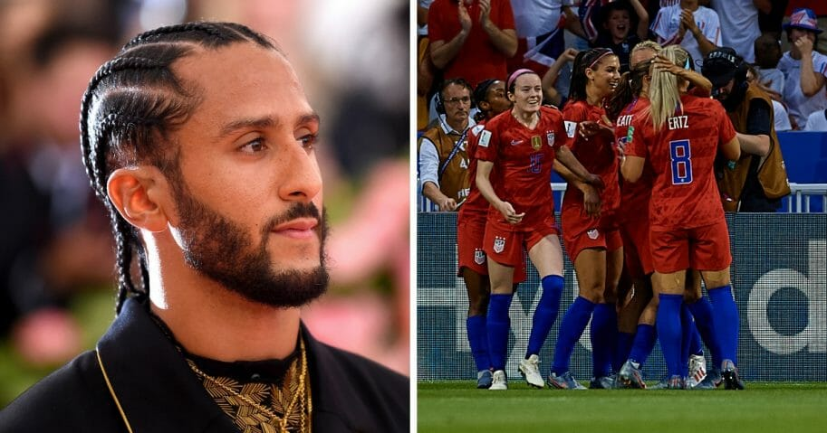 The campaign arm for the House GOP caucus took aim at former San Francisco 49ers quarterback Colin Kaepernick, left, while also expressing support for the U.S. Women's National Team, right, who were taking on England in the semifinal game of the FIFA Women's World Cup.