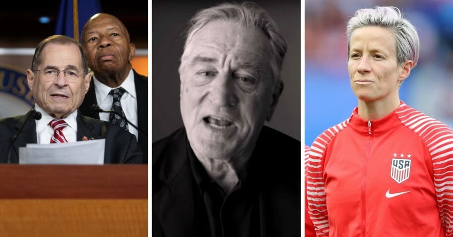 From left, Democratic Reps. Jerrold Nadler of New York and Elijah Cummings of Maryland; actor Robert DeNiro; and U.S. soccer star Megan Rapinoe.