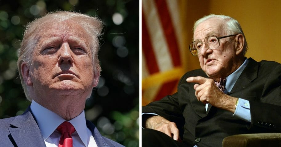 President Donald Trump, left, is honoring the late former Supreme Court Justice John Paul Stevens, right, despite Stevens having criticized the president as recently as May of this year.