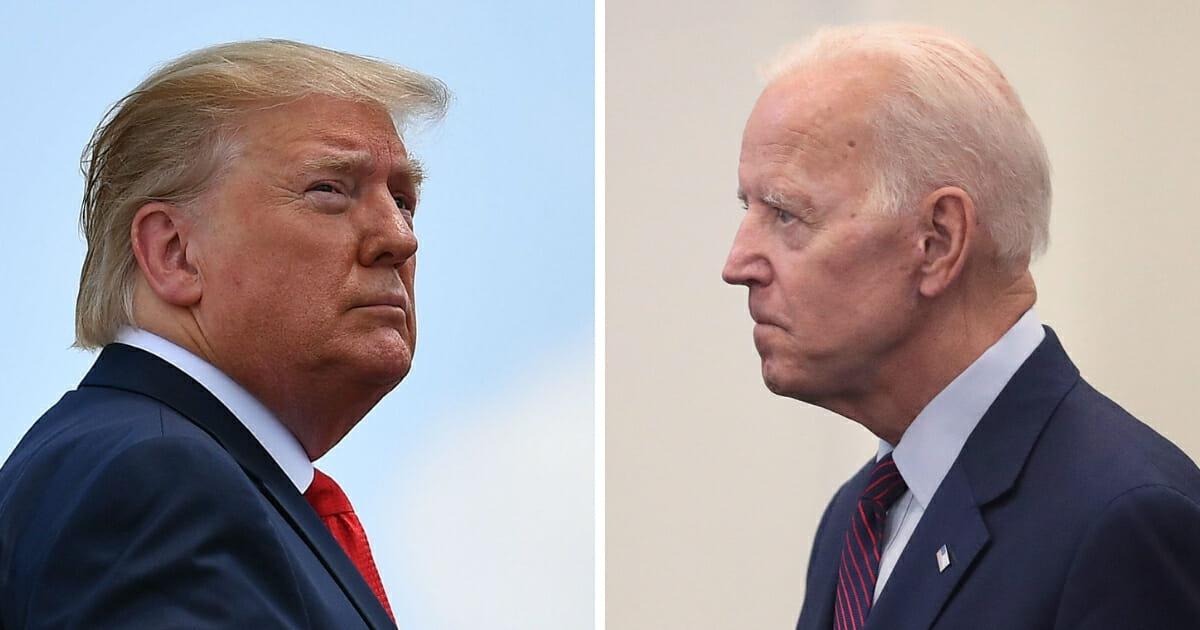 President Donald Trump, left, and former Vice President Joe Biden, right.